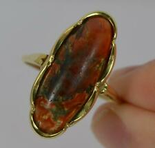 Early Victorian 18ct Gold and Scottish Red Moss Agate Ring d0865