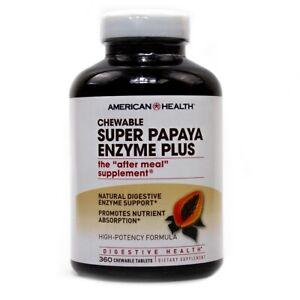 American Health Super Papaya Enzyme Plus 360 Chew Tablets FREE Shipping FRESH