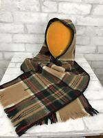 Vintage Amana Iowa Woolen Mill Brown Green Tartan Plaid Wool Hooded Scarf 10x73""