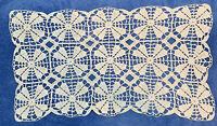 Vintage Hand Made Crochet Ornate Doily Table Topper Ivory Rectangle Shape