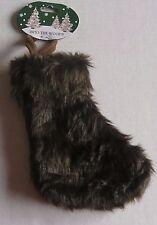 "Mini Faux Fur Christmas Stocking DARK BROWN 8.5""  X 5.25"" W 3.25""Long Hanger"
