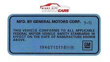 1969-72 All GM Car Models GM Licensed Reproduction Door Jamb Data Blue Decal