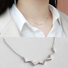 Kurze Damen Halskette V Welle echt Sterling Silber 925 Zirkonia 34-40 cm Collier