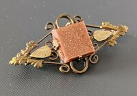 Antique Victorian Gold Stone Goldstone Brooch - Fine Design Gold Plated