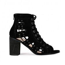 Susie Chunky Heels In Black Faux Suede UK5 EU38 JS06 38