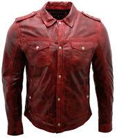 Men's Burgundy Vintage Jeans Leather Shirt Jacket