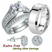 His and Hers Stainless Steel Princess Engagement Ring Matching Wedding Band Sets