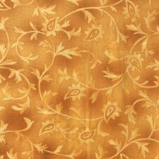 Cotton Quilting Craft Sewing Fabric Yellow Gold Tonal Overprint Floral Remnant