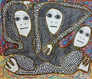 Original Haitian Art Painting (Acrylic / Canvas) - Levoy Exil - The Trio