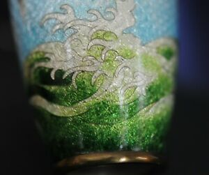 TERRIFIC silver wire Japanese Enamel cloisonne vase MEIJI