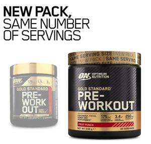 Optimum Nutrition Gold Standard Pump Energy Gym 330g Fruit Punch New