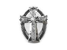 Western Cowgirl Jewelry Silver Oval Cross Pendant