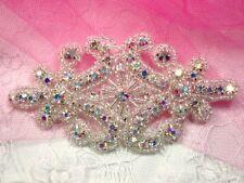 """Aurora Borealis Crystal AB Rhinestone Applique Silver Beaded 4""""  Bridal XR15"""