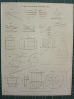 1814 Datato Antico Stampa ~ Proporzionale Bussole Vari Diagrammi