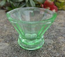 American 1920s-30s Vintage, Green Glass Octagonal Open Salt Dip, Cellar, Dish!