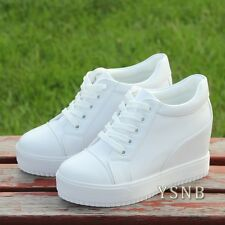 Ladies Sneakers Platform Casual Wedge Heel Athletic Sport Lace-up Run Shoes UK