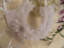 WEDDING BRIDAL HORSESHOE -WHITE LACE MOTIFS  -BRIDAL CHARM15cm
