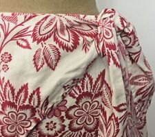 Hawaiian Linen Wrap Skirt Womens 10 Red White Floral Aloha Summer Tommy Hilfiger