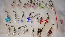 Joblot of 25 Mixed color Surgical Steal & Diamante Belly Bars - NEW Wholesale