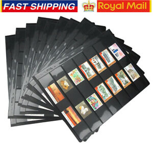 Double Sided Stamp Album Stock Pages Pack of 10 Pages with 9 Binder Holes Set