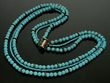 Vtg Turquoise Bead 3-Strand Sterling Necklace