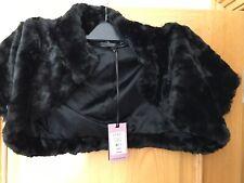 NEW Coast Rachelle Black Faux Fur Cropped Jacket Bolero Shrug Size Medium M