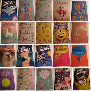 PACK OF 10 BIRTHDAY CARDS/NOTE CARDS - MIXED AGE/UNISEX/ADULT/CHILD-MANY PKS (F)