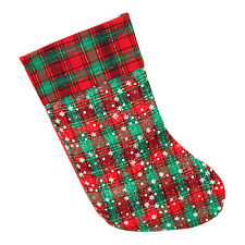 Red & Green Luxury Tartan Snowflake Christmas Santa Stocking