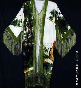 Kimono Duster Fringe Jacket Silk Solid Velvet Peacock Ivory Multi Maya Matazaro