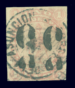 PARAGUAY 1878 LION - hand SURCHARGE 5c/1c rose DOUBLE & INVERTED Scott # 4a used