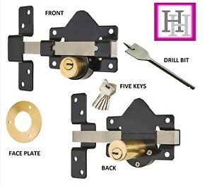 Gate Lock Garage SECURITY Double Long Throw Bolt Rim Lock style 50 MM 5 Keys