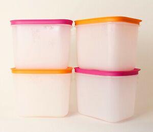TUPPERWARE Eis-Kristall Gefrierbehälter 1,1L hoch 2x Pink + 2x Orange