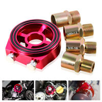 Universal Car Oil Filter Cooler Sandwich Plate Adapter Oil Temperature Parts Red