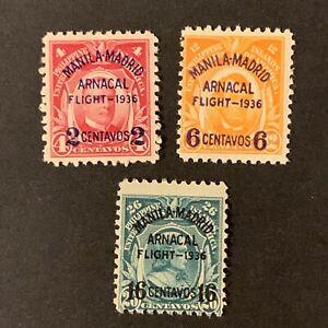 U2/110 US Philippines Stamp Airmail Scott C54-56 2-16c Set 3 MNHOG V. Beautiful