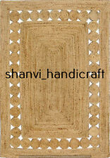Beige Colour Handwoven Jute Rug Bohemian Home Decor Floor Rug 3x4 Feet Rag Rugs