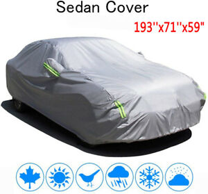 Full Car Cover Rain Sun UV Dust Snow Resistant Universal Fit Sedan Protection US