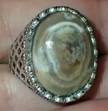 Sterling Silver Ring, Natural Eye Stone, #S1954, Size Adjustable 9+
