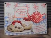 SHABBY*CHIC VINTAGE RETRO STYLE METAL WALL SIGN PLAQUE *FABULOUS CREAM TEA'S*