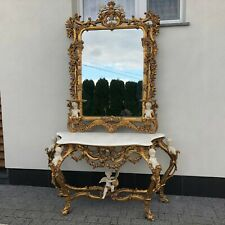 CONSOLE - GOLD CONSOLE WITH MIRROR IN WOODEN FRAME #LU120
