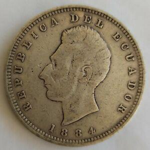 Ecuador 1884 - 1 One Sucre - Minted in Birmingham Heaton - Fine - Silver Coin