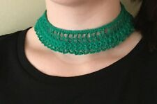 "Girls Christmas Lace Collar Necklace Green 13"" Handmade N42"
