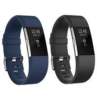2x Ersatz Armband Schwarz Blau für Fitbit Charge 2 Fitness Sport Tracker