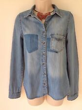 RIVER ISLAND SIZE 8 BLUE DENIM SHIRT FESTIVAL BOHO HIPPY CASUAL SUMMER HOLIDAY