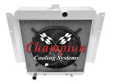 """2 Row Cold Champion Radiator W/ 16"""" Fan for 1961 - 1967 Dodge D100 Series V8 Eng"""