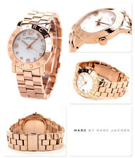 NEW-MARC JACOBS AMY ROSE GOLD TONE S/STEEL+WHITE CRYSTAL DIAL WATCH MBM3077+BOX