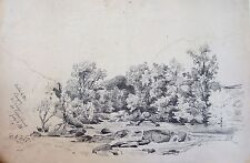 Richard Toovey (1861-1927) landscape drawing. River Lugwy Wales Capel Curig