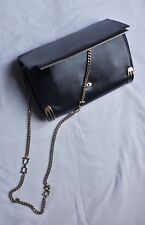 Vintage 80's black leather clutch envelope shoulder bag with gold-tone chain