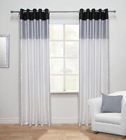 Harmony Striped Faux Silk Ready Made Curtains - Eyelet & Fully Lined (White)