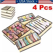 4Pcs Foldable Closet Organizer Box Underwear Bra Socks Storage Drawer Divider US