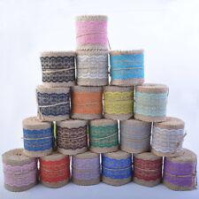 2M Jute Burlap With Lace Natural Hessian Ribbon Trim Edge Wedding Rustic Vintage